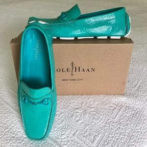 Cole Haan Driving Moc Turquoise Leather Size 8.5